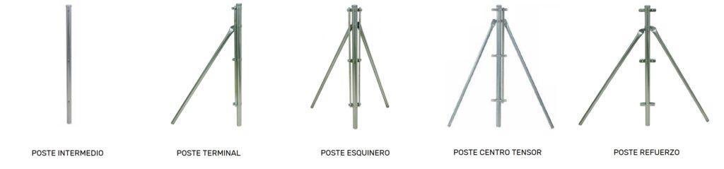 Tipos de postes de malla de simple torsión