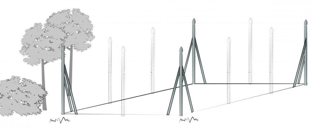 Colocación postes de malla de simple torsión